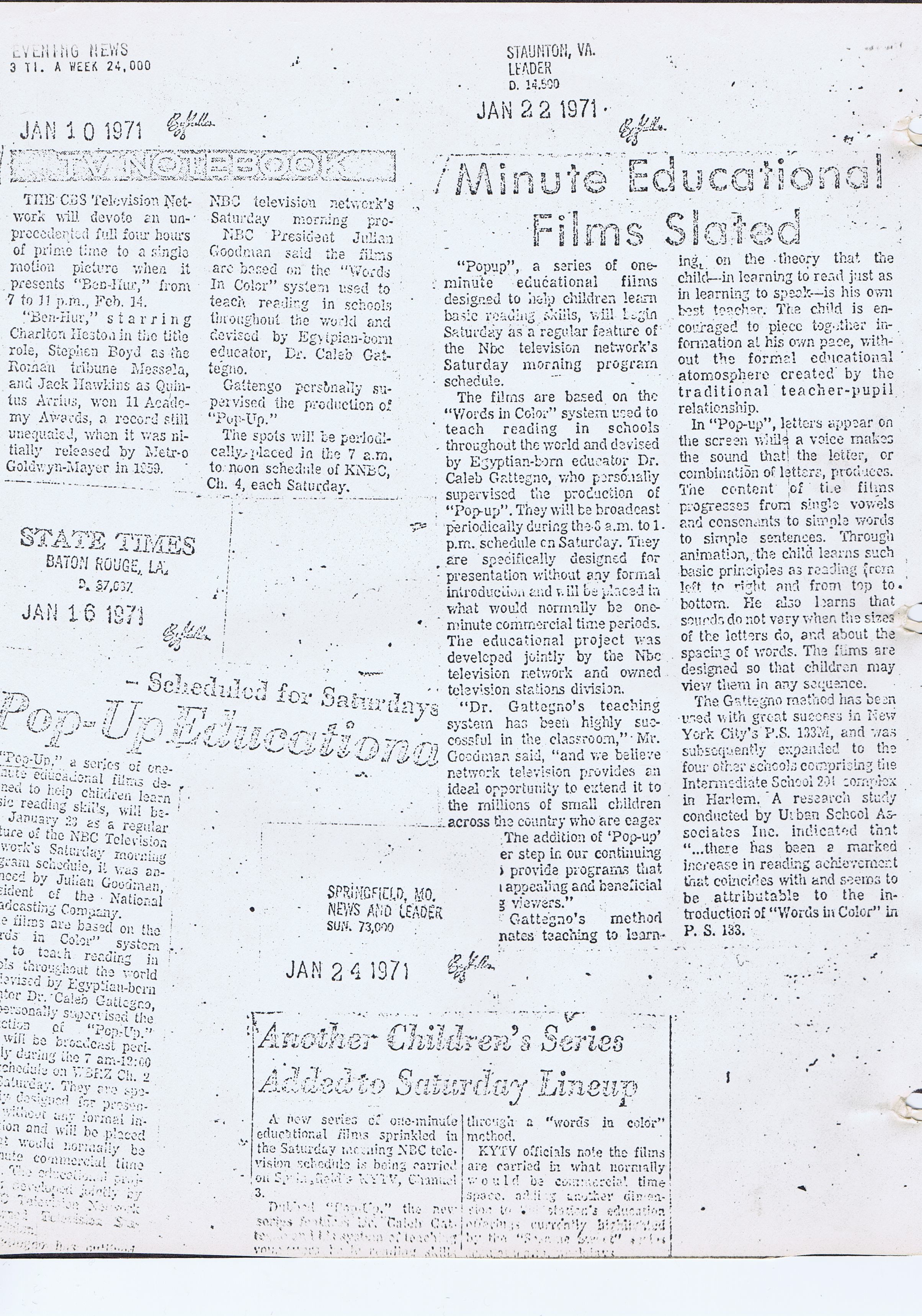 Evening News, State Times, Staunton Leader, News and Leader, Jan 1971.jpg