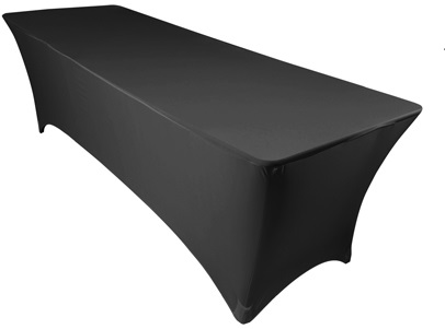 6′ x 1.5′ Seminar Table with black fitted tablecloth - 1 available | Rent for $5 (tablecloth included)