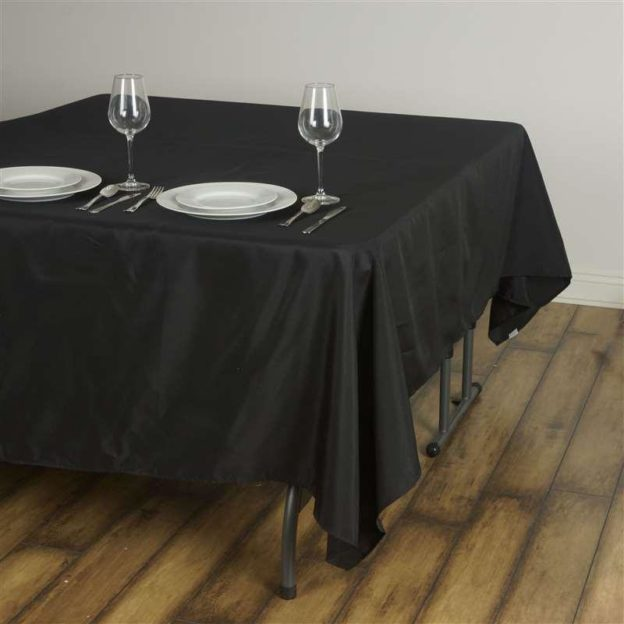"Black 90"" Square Tablecloths - 12 available 