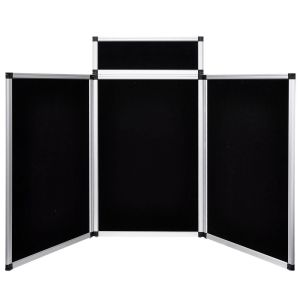 Three Panel Display Board with Header, 6'wx3'h plus 8.5″x23.5″ header, velcro fabric on one side, white board on the other - 1 available | Rent for $15: