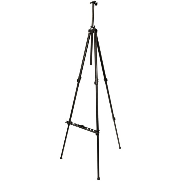 Display Easel, adjustable legs for indoor, outdoor & tabletop use, accommodates panels up to 48″h x 1.5″d, width adjusts from 43″-58″ wide, height adjusts from 52″-72″ high - 1 available | Rent for $5