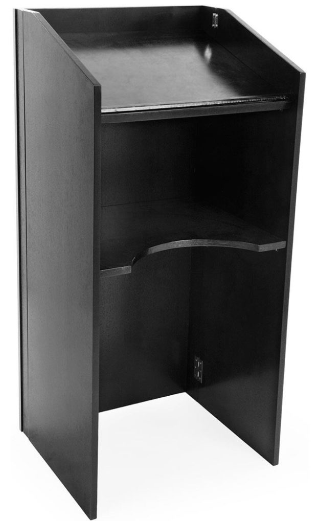 "Portable Lectern/Podium, measures 21"" wide x 18"" deep x 46"" tall (collapses for easy portability) - 1 available 
