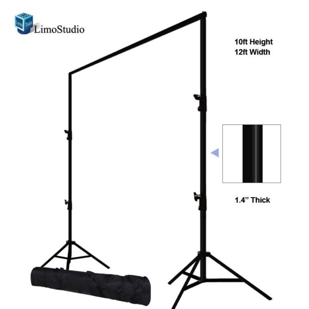 10′ x 12′ Backdrop Support, height adjustable from 3.5′-10′, width adjustable from 4.5′-12′. Holds lightweight curtains, banners, backdrop paper - 1 available | Rent for $15