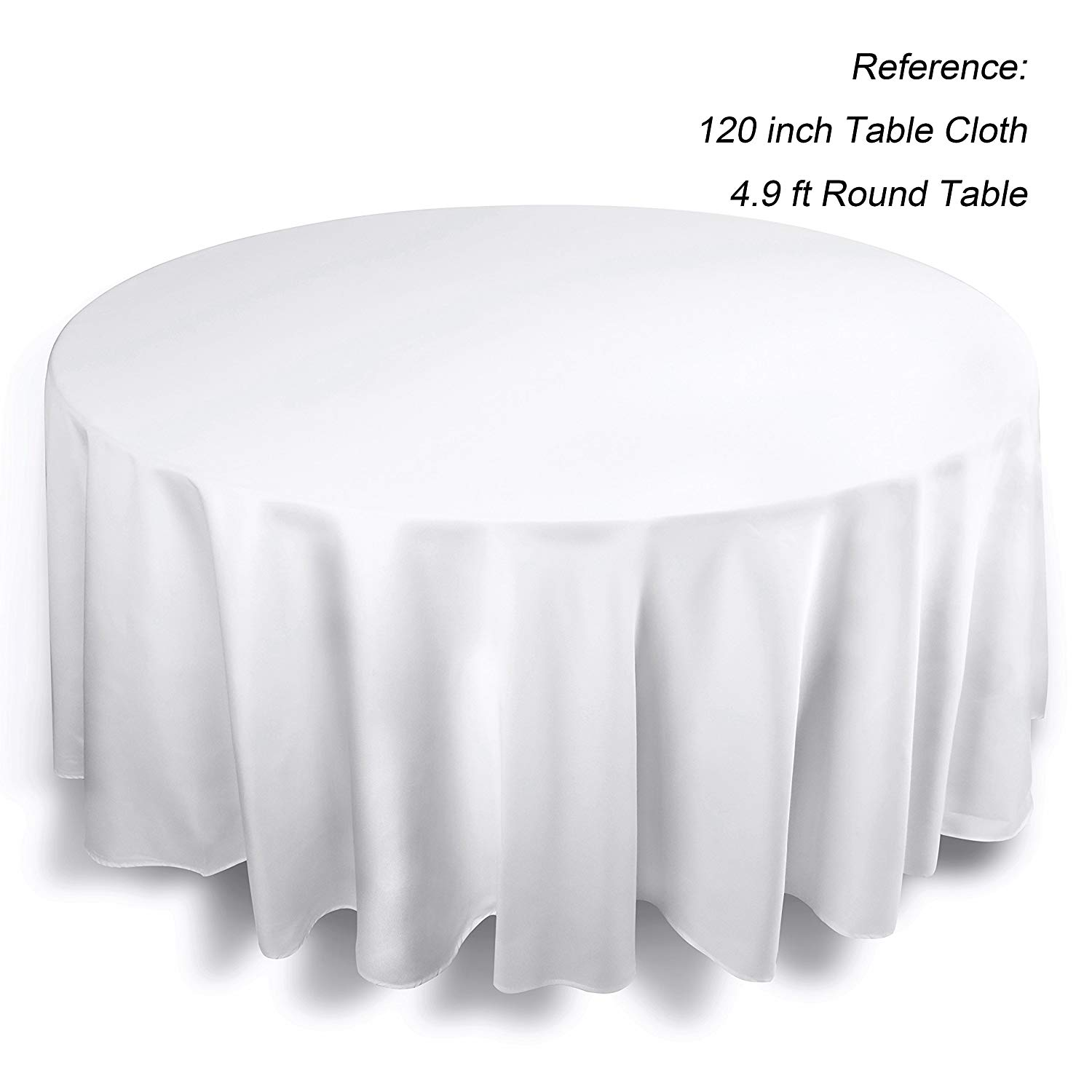 White 120″ Round Polyester Tablecloths - 12 available | Rent for $5 each