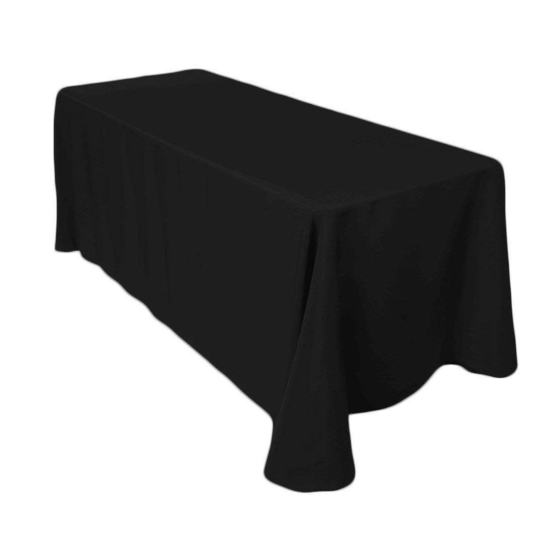 Black 90″x 132″ Rectangle Polyester Tablecloth - 12 available | rent for $5 each