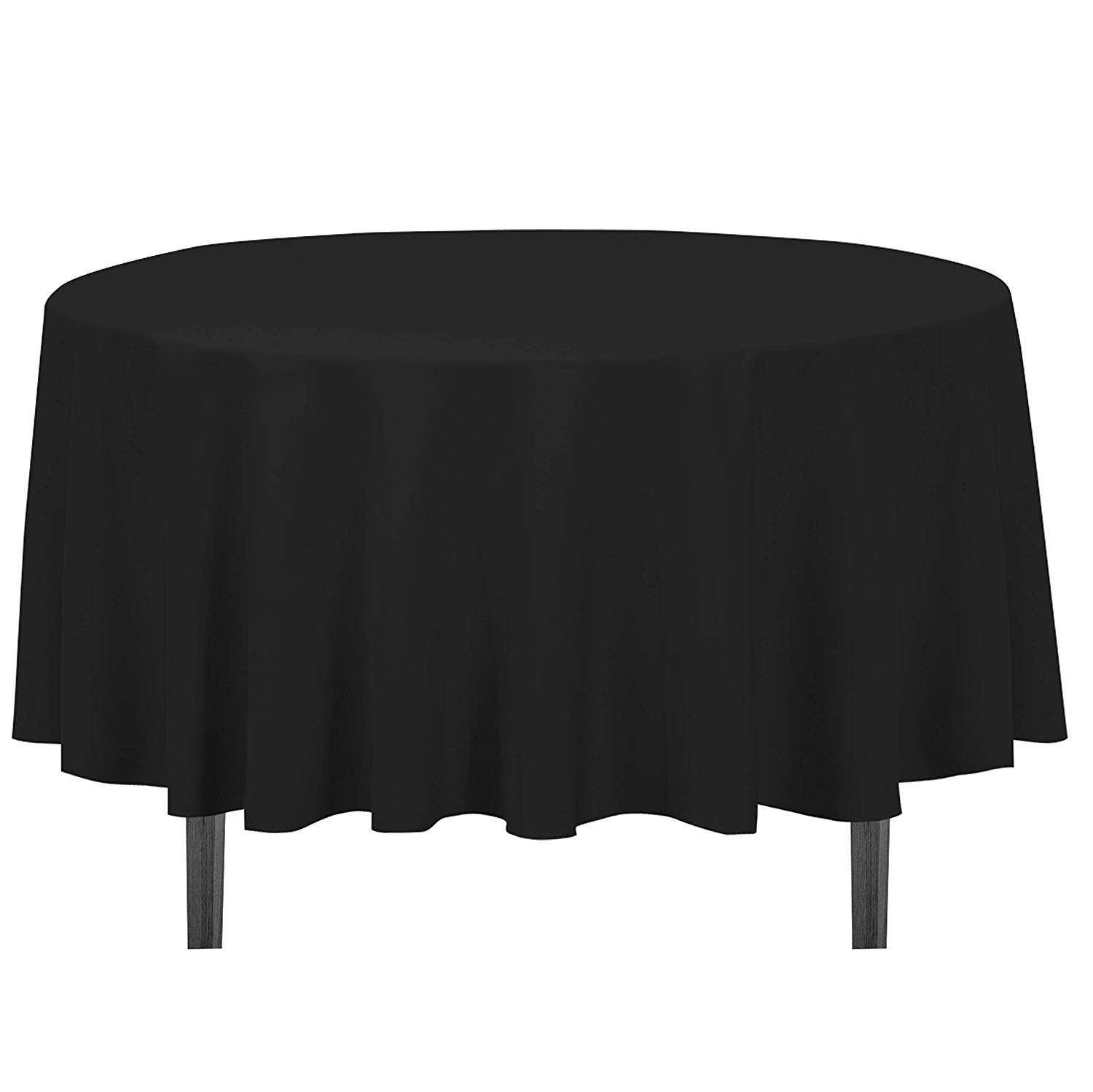 Black 90″ Round Polyester Tablecloths - 6 available | Rent for $5 each
