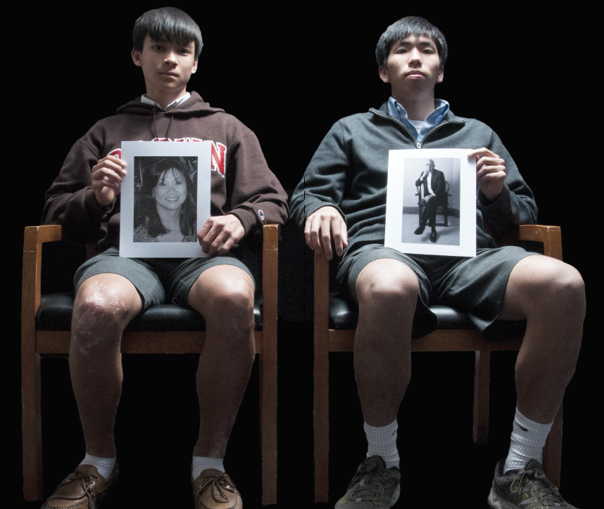 Never Forgotten Honoring their parents, freshmen Colton Barber (left) and senior Cam Lam (right) hold up pictures of their parents.