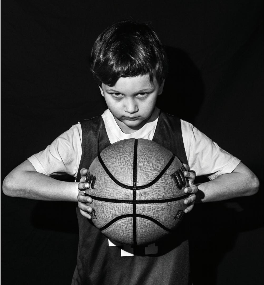 First grader Timmy Strauss glares down the opposition.