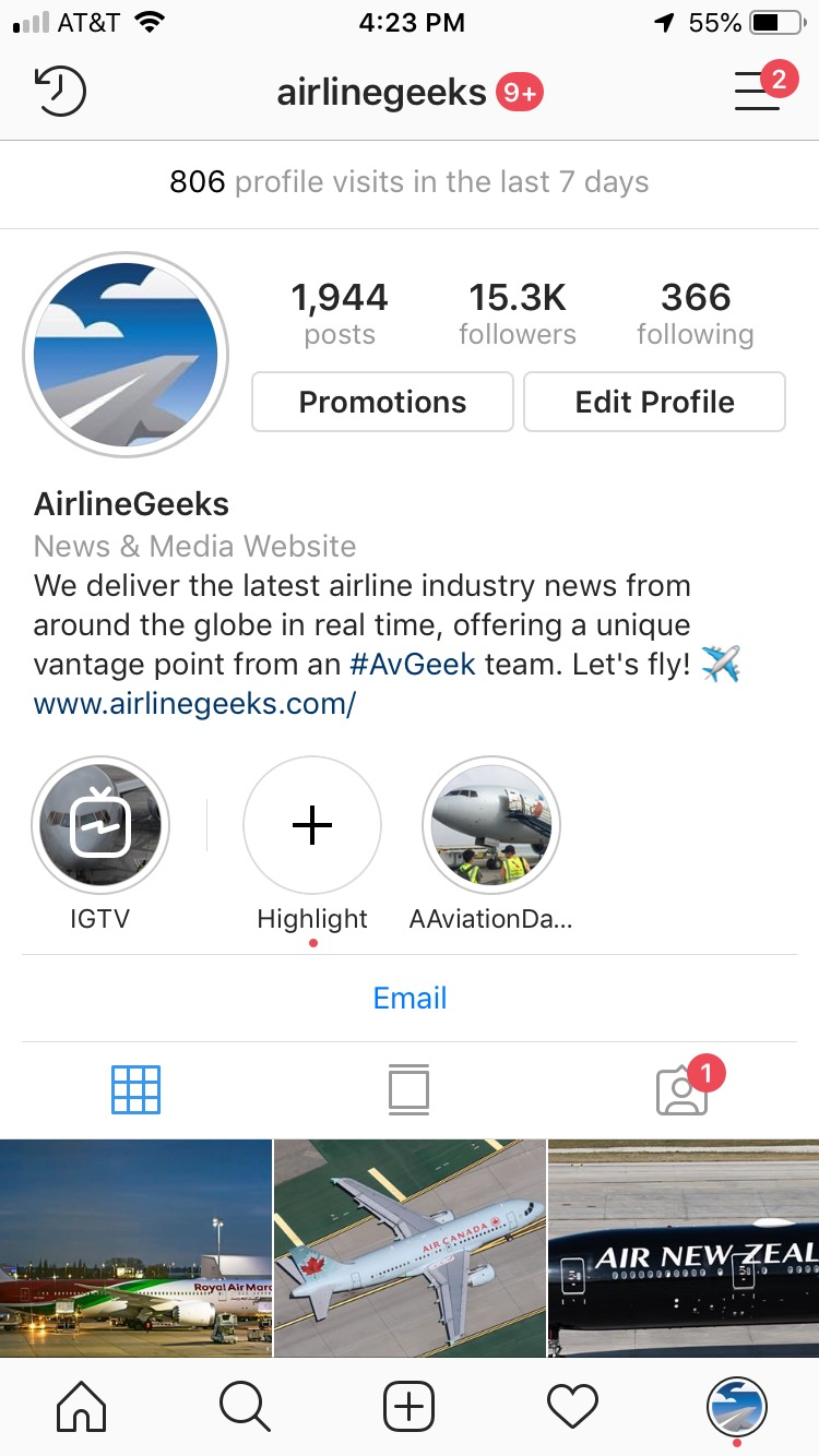 The AirlineGeeks Instagram profile.