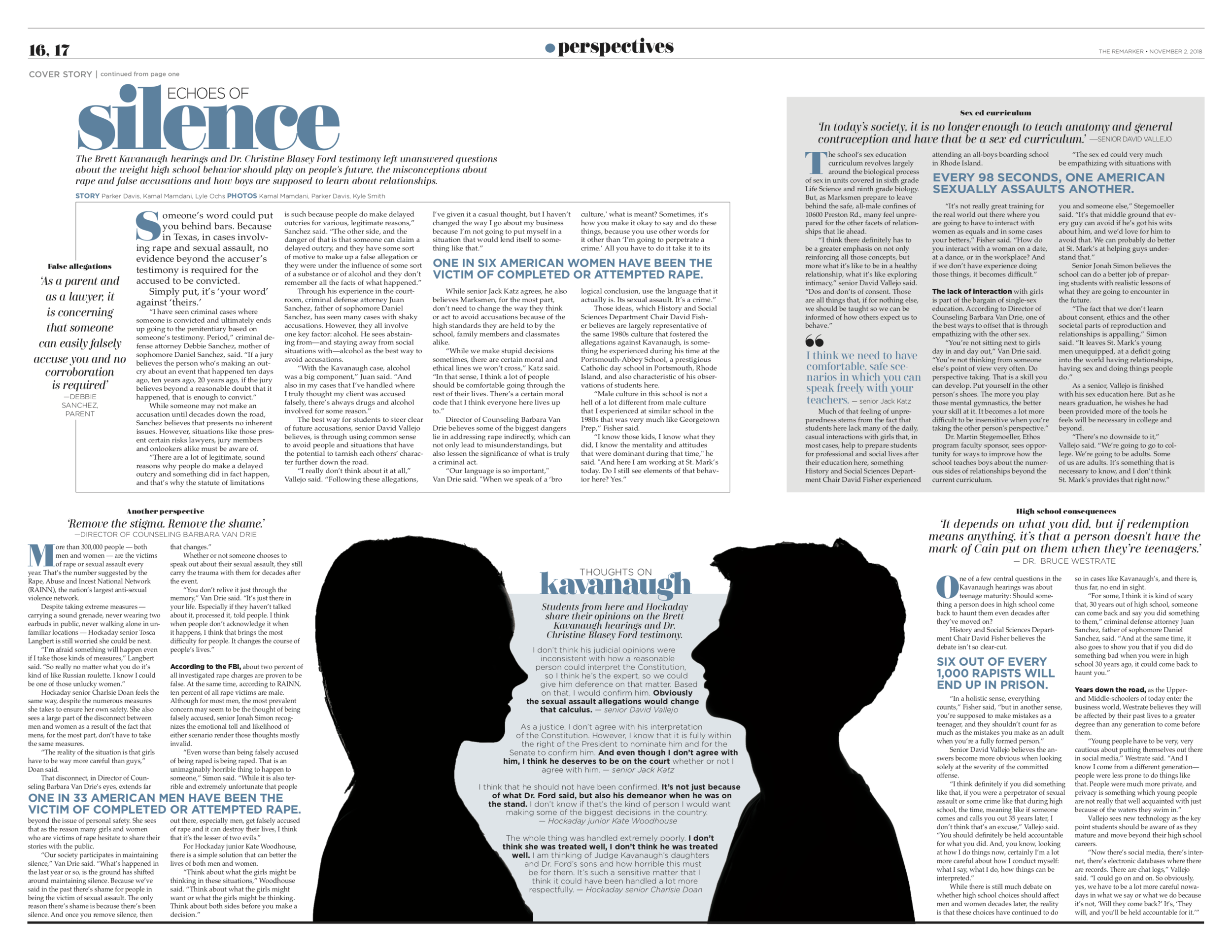 In order to help guide the reader through the four distinct pieces of our story, I separated them using a label head and stylized pull quote preceding each section. And to anchor the spread, I used two silhouettes — a girl and a boy — meant to represent the presentation of the two different sides of the Kavanaugh controversy, quotes regarding which can be found between the figures.