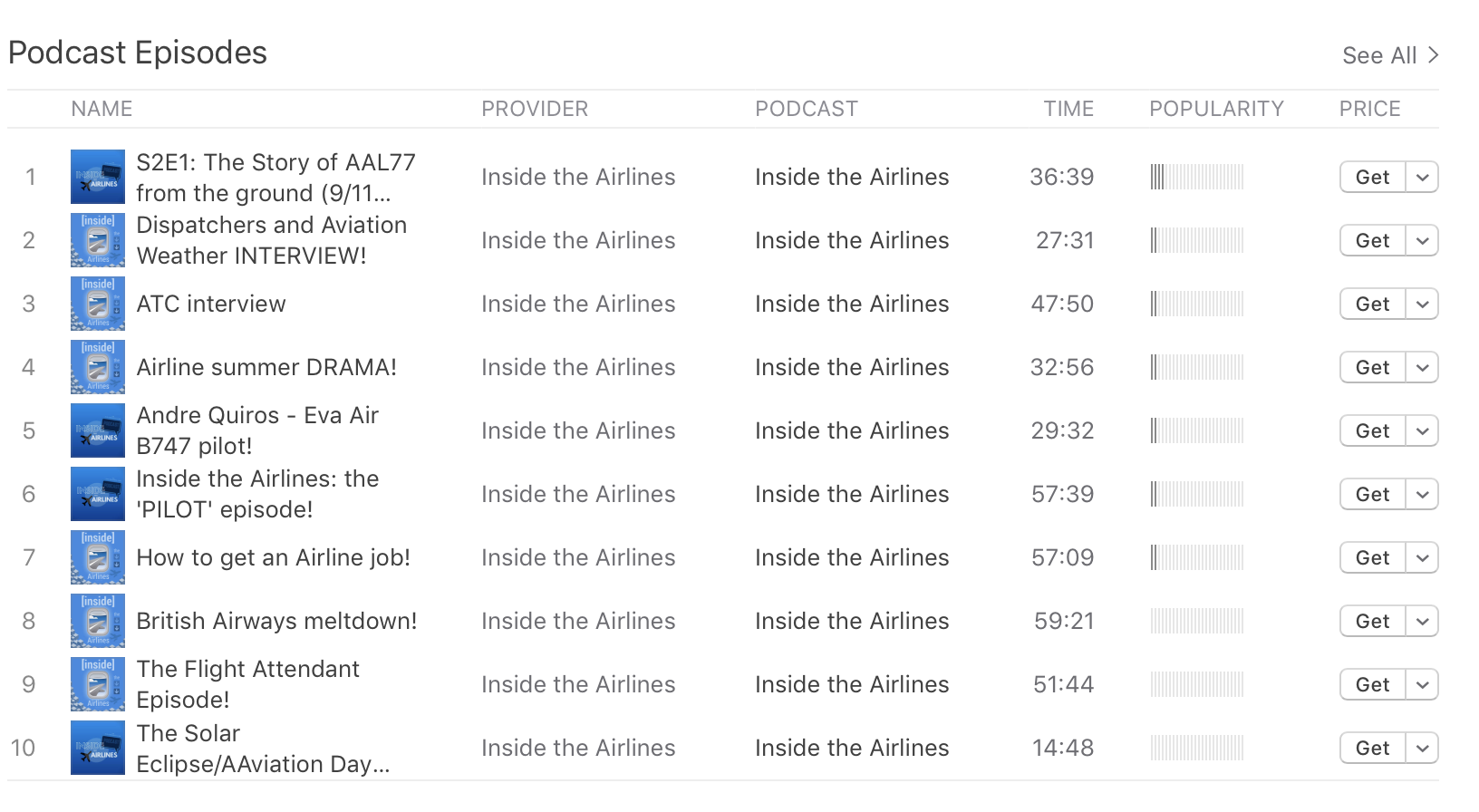 "The ""Inside the Airlines"" iTunes page, featuring our ten most popular or recent episodes."