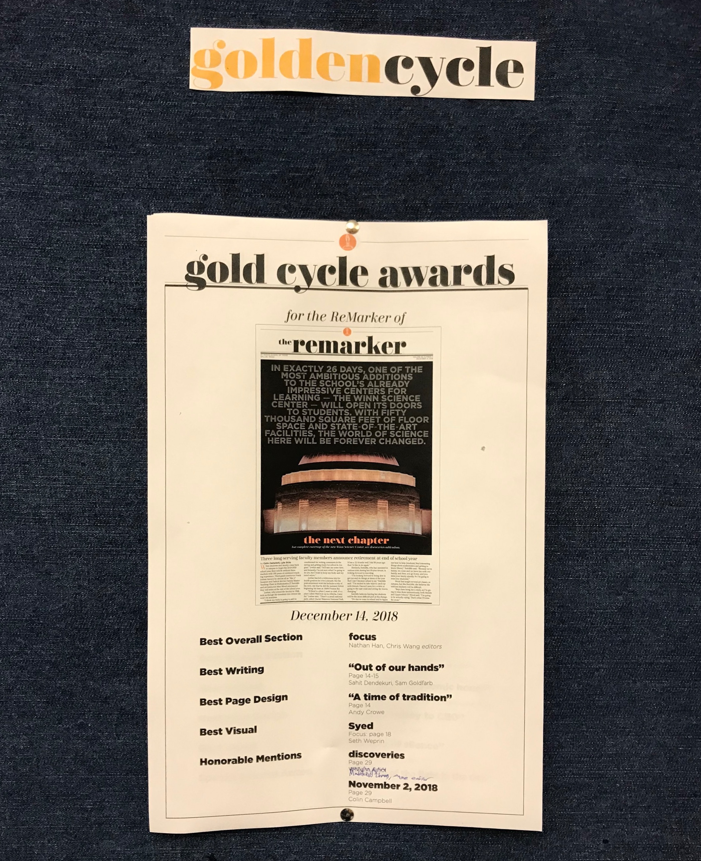 The Golden Cycle Awards sheet from the December cycle.