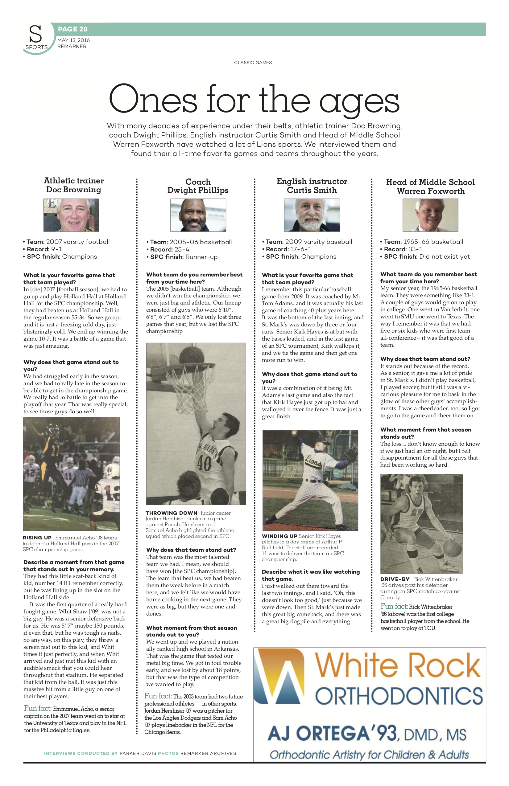 For this package, I used an alternative copy format to present four coaches' favorite athletic memories from the school. Though this design was the first I ever did for  The ReMarker , I utilized archive photos and a format in which I created vertical modules from each interview to create a reader friendly design.