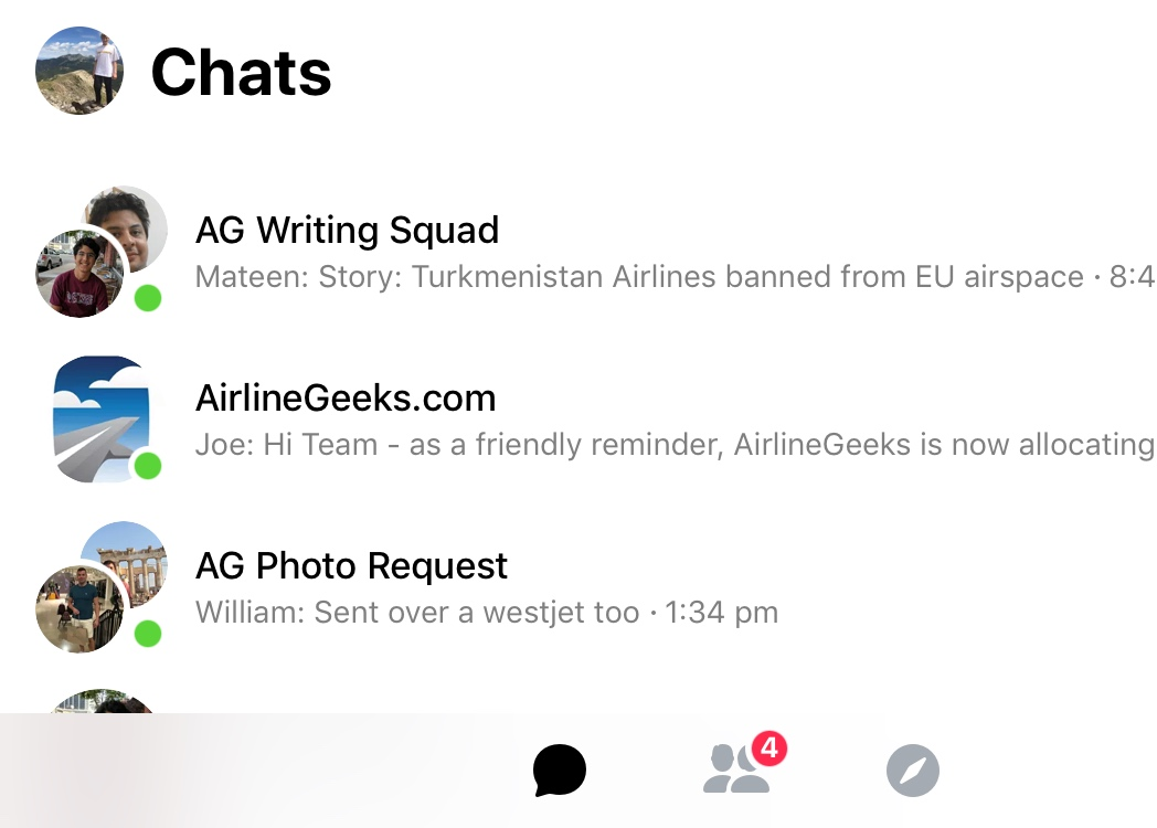 The three main groups we use for AirlineGeeks.com. The first is for communication among the writing staff, the second contains every staff member and the third is used for communication between the writing and photography teams.