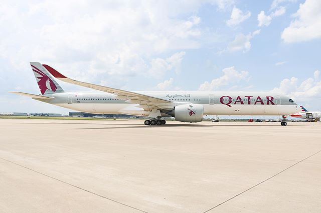 Qatar Airways' Airbus A350-1000 pulling into the gate at DFW. A huge thanks to @qatarairways for inviting me to welcome the inaugural flight! #FirstIn1000