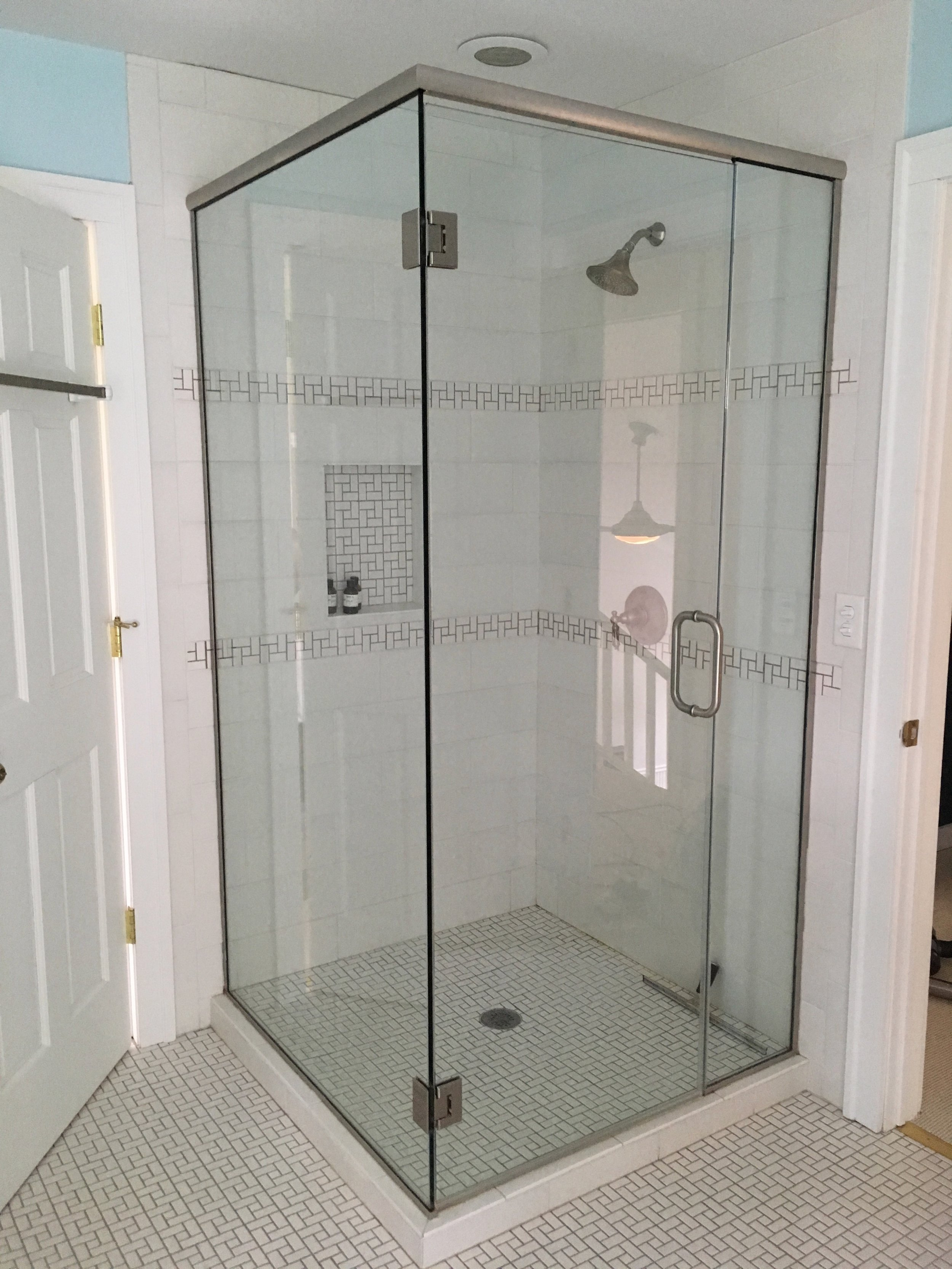 upstairs bath with separate shower