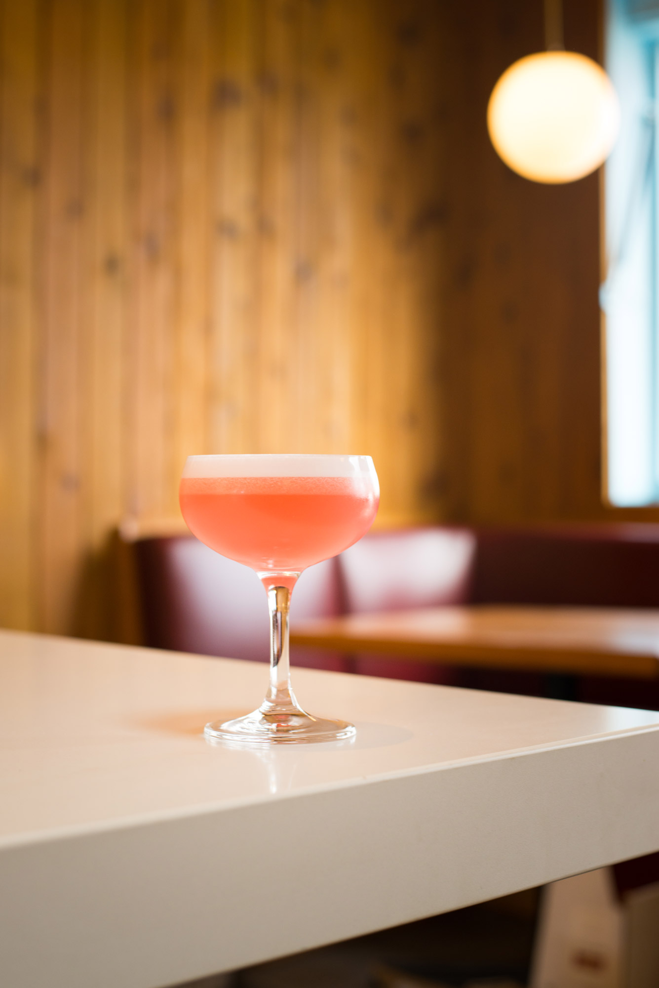 Clover Club - Ford's Gin, Martini & Rossi Dry Vermouth, Raspberry, Lemon, Egg White, Peychaud's Bitters