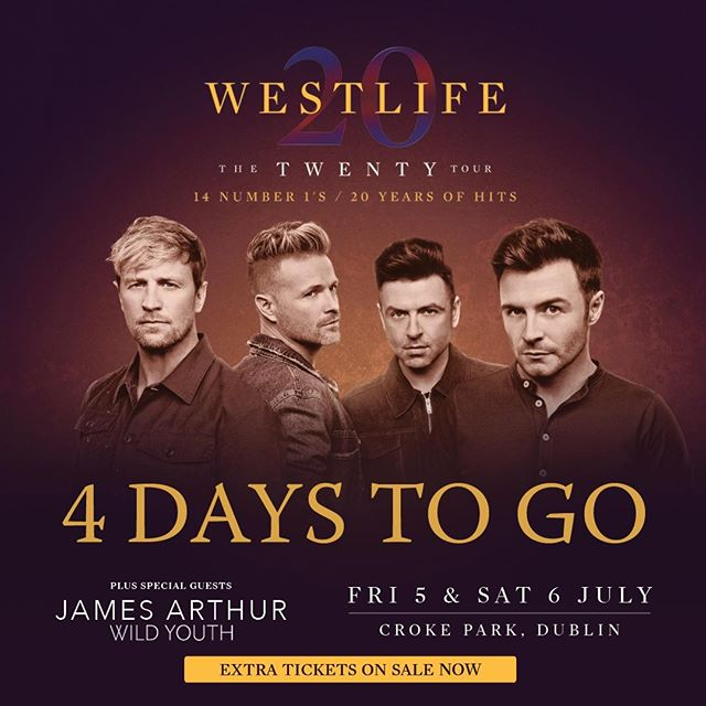 #4daystogo until Westlife's The Twenty Tour at Croke Park with special guests Wild Youth and James Arthur. Have you sorted your hotel and car parking for the concerts yet? Get everything sorted at EvntzApp, your one-stop-shop for your gig related bookings! www.evntz.app  #westlife #follow #westlifemusic #skypanels #westlifetwentytour #westlifereunion #ireland #markfeehily #shanefilan #nickybyrne #music #kianegan #westlifeforever #dublin #popmusic #irish #brianmcfadden #yearsofwestlife #thetwentytour #boyband #westlifer #sligo #irishband #specialguests #bandwildyouth #jamesarthur