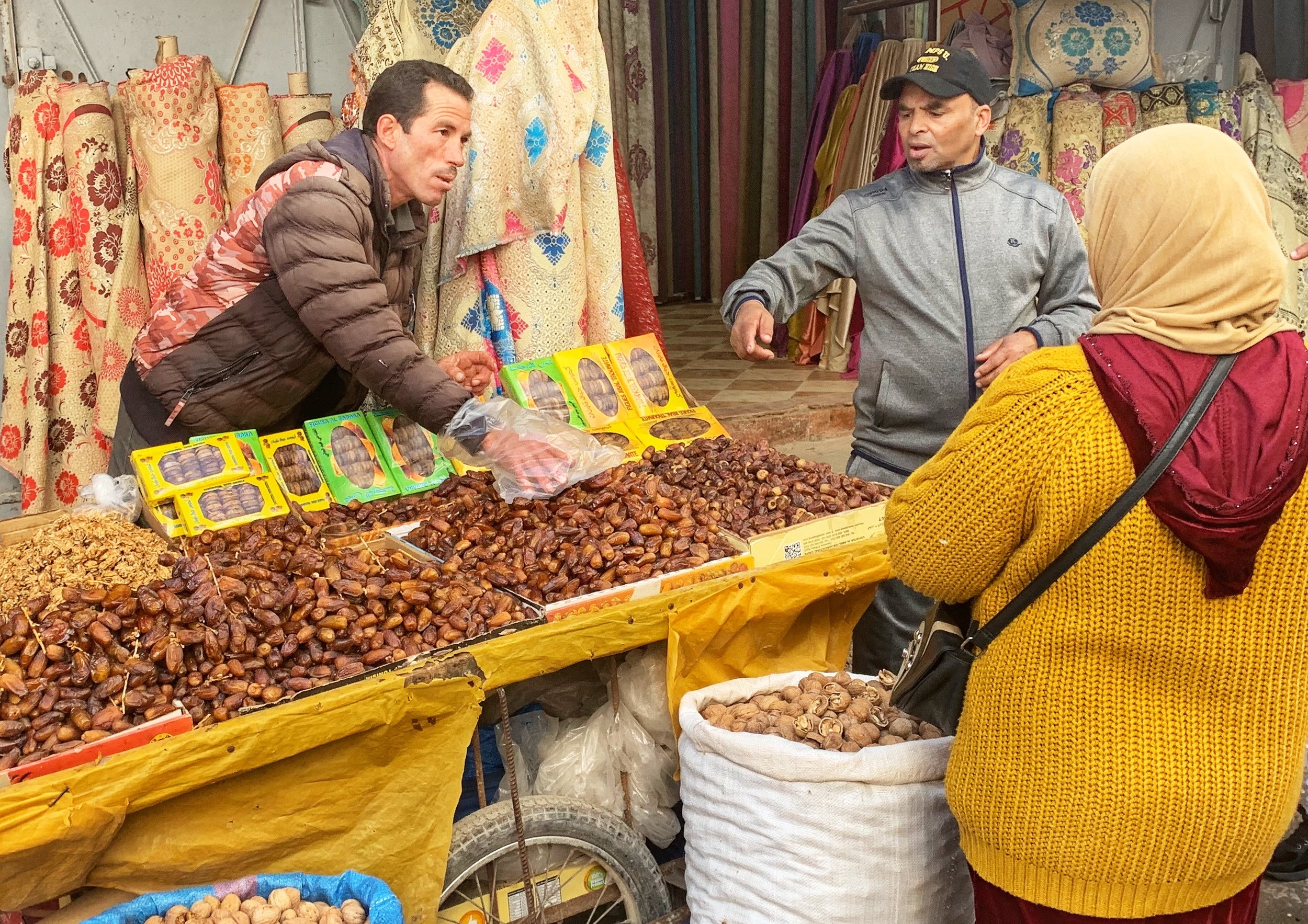 Merchant selling dates in downtown Medina, Rabat
