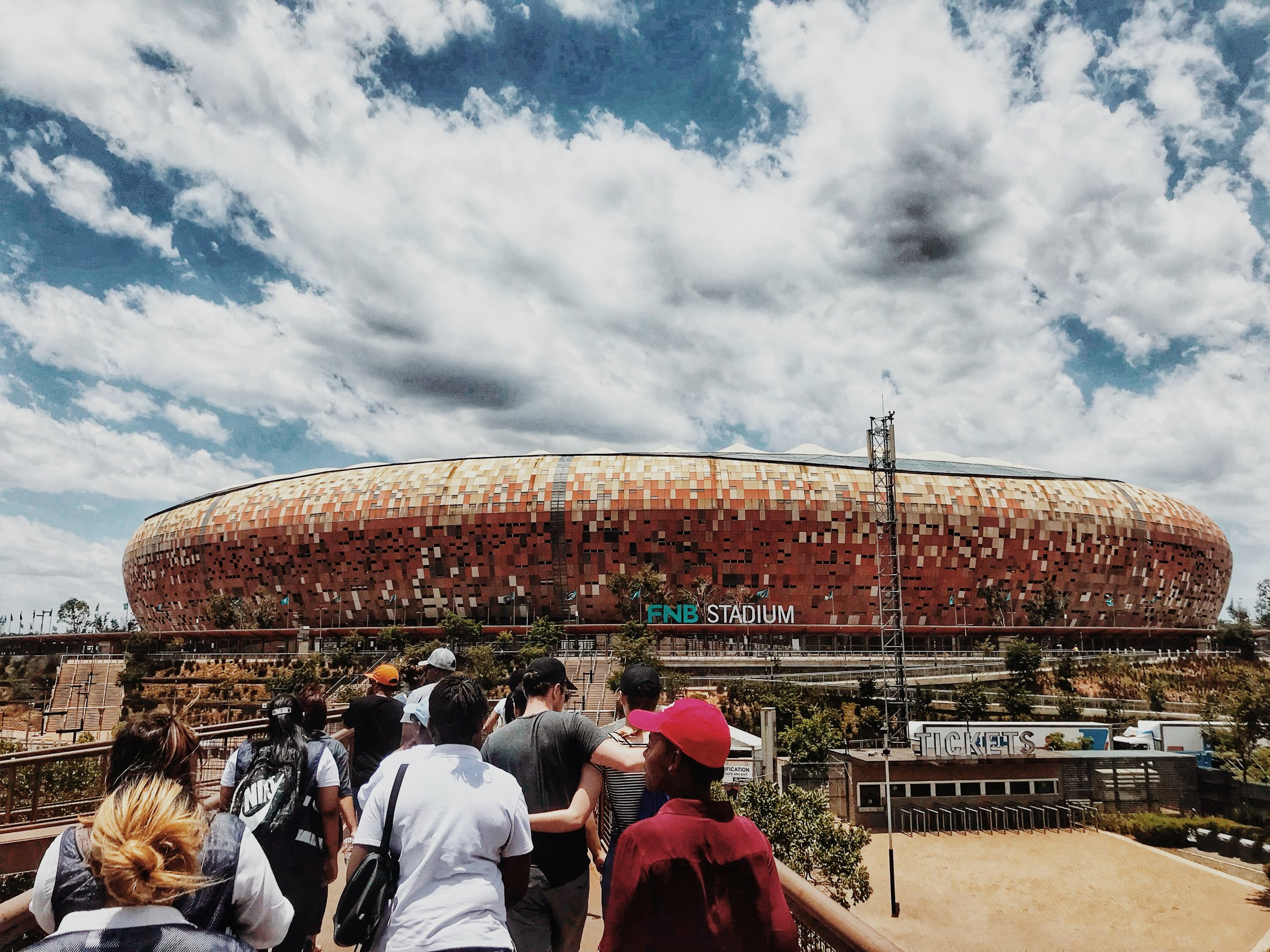 Arrival at the FNB STADIUM, Soweto.