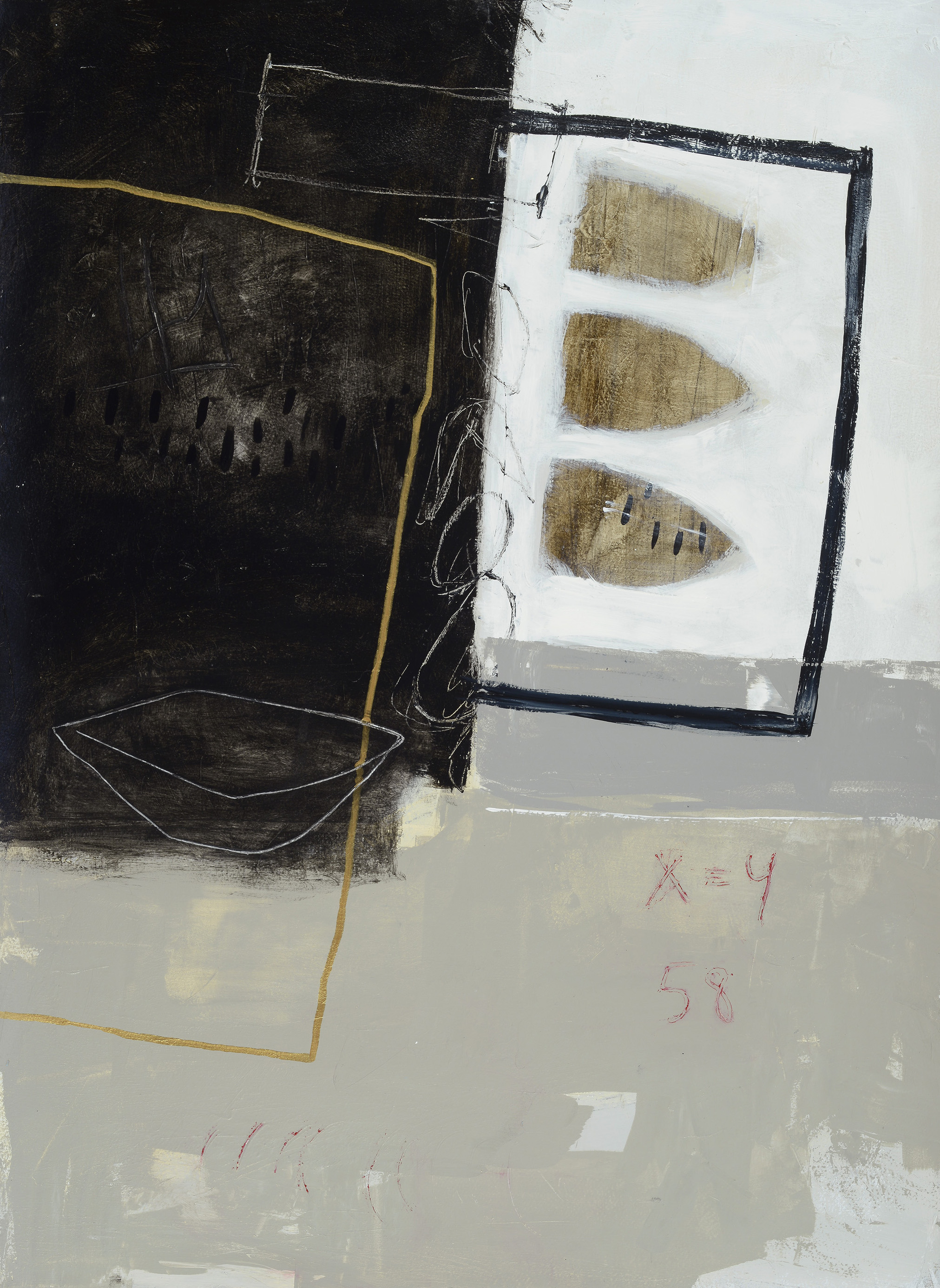"Mooring, acrylic on paper, 30"" x 22"""