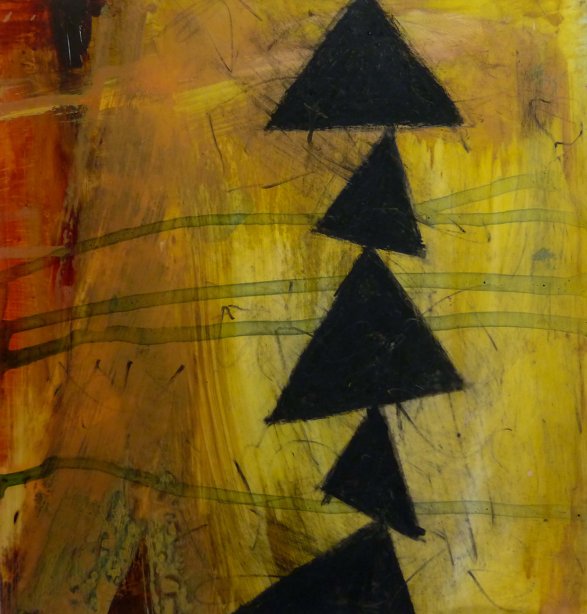 """Side Trail I, acrylic and oil crayon on film mounted to paper, 10"""" x 10"""" (image size)"""