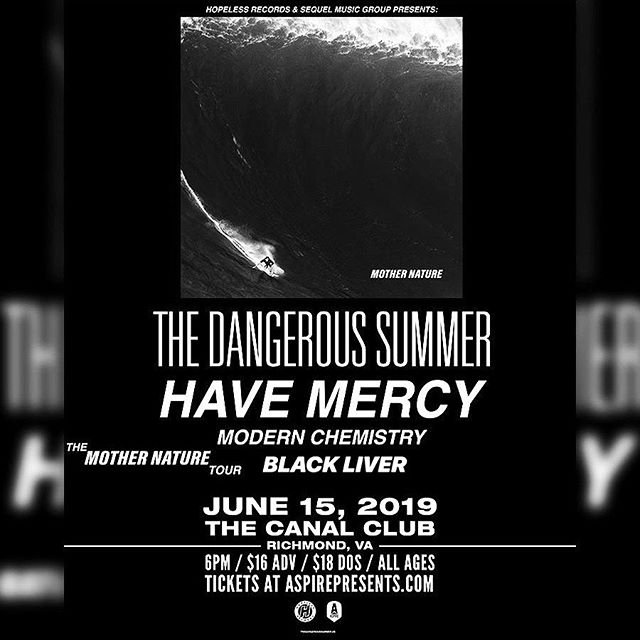 TOMORROW. 6 PM @ CANAL CLUB W/ @thedangeroussummer @havemercymd @modernchemrock