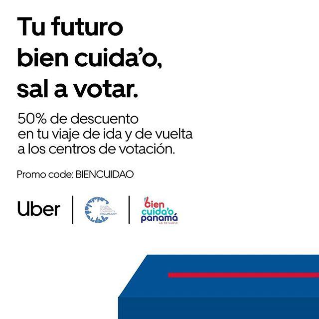 VIENE LA FIESTA DE LA DEMOCRACIA 📥  Este domingo 5 de abril son las elecciones, tenemos un deber importante. ¡VOTAR! @uber_panama y @globalshaperspanama apoyan este deber democrático. ¡VOTAR BienCuida'o Panamá! Recuerda activar el código promocional y verifícate en tu centro de votación.  #panama #eleccionespanama2019 #nobotestuvoto #votabiencuidaopanama #uberpanama #eleccionespanama