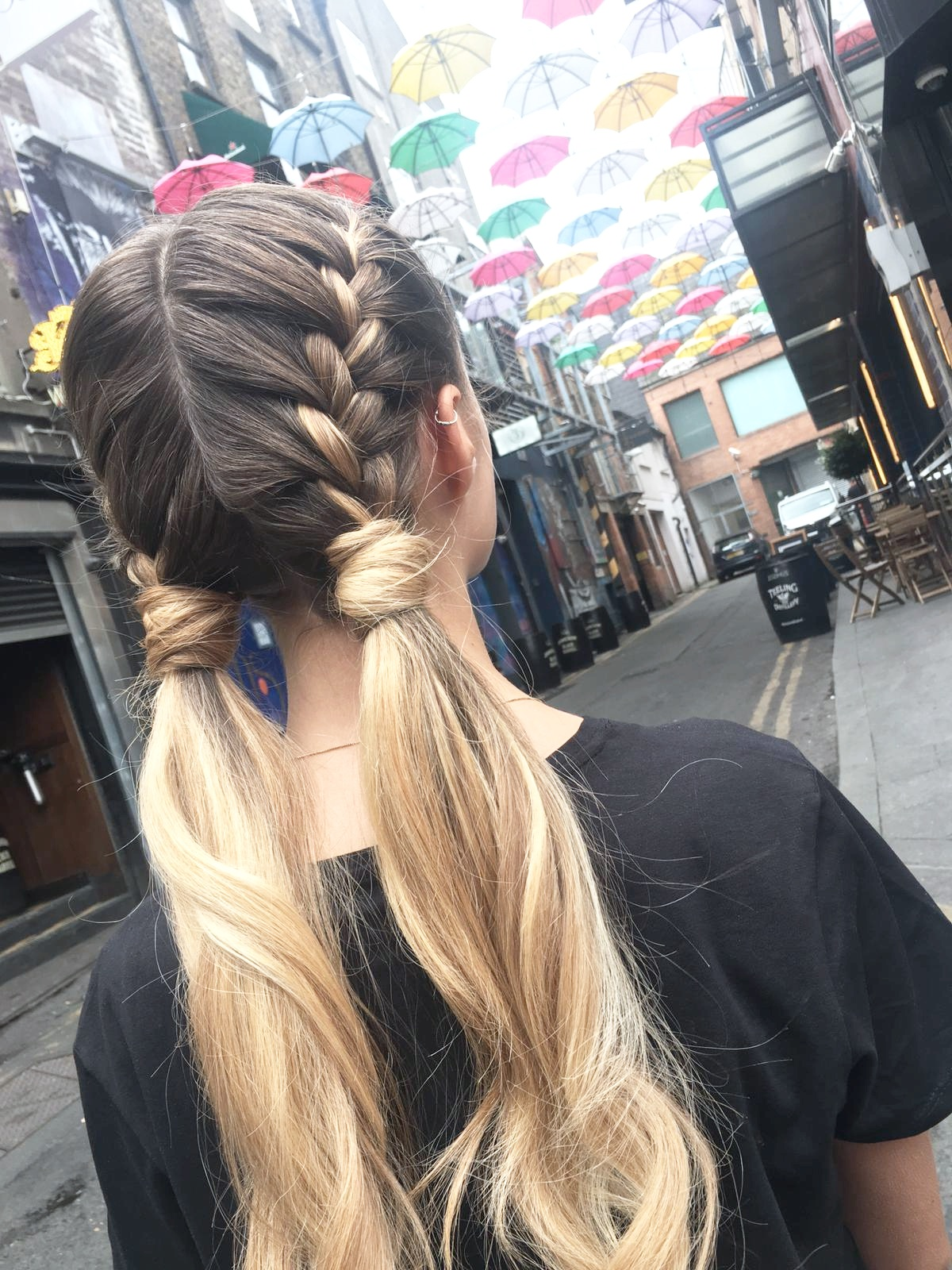 Double braid with pigtails.