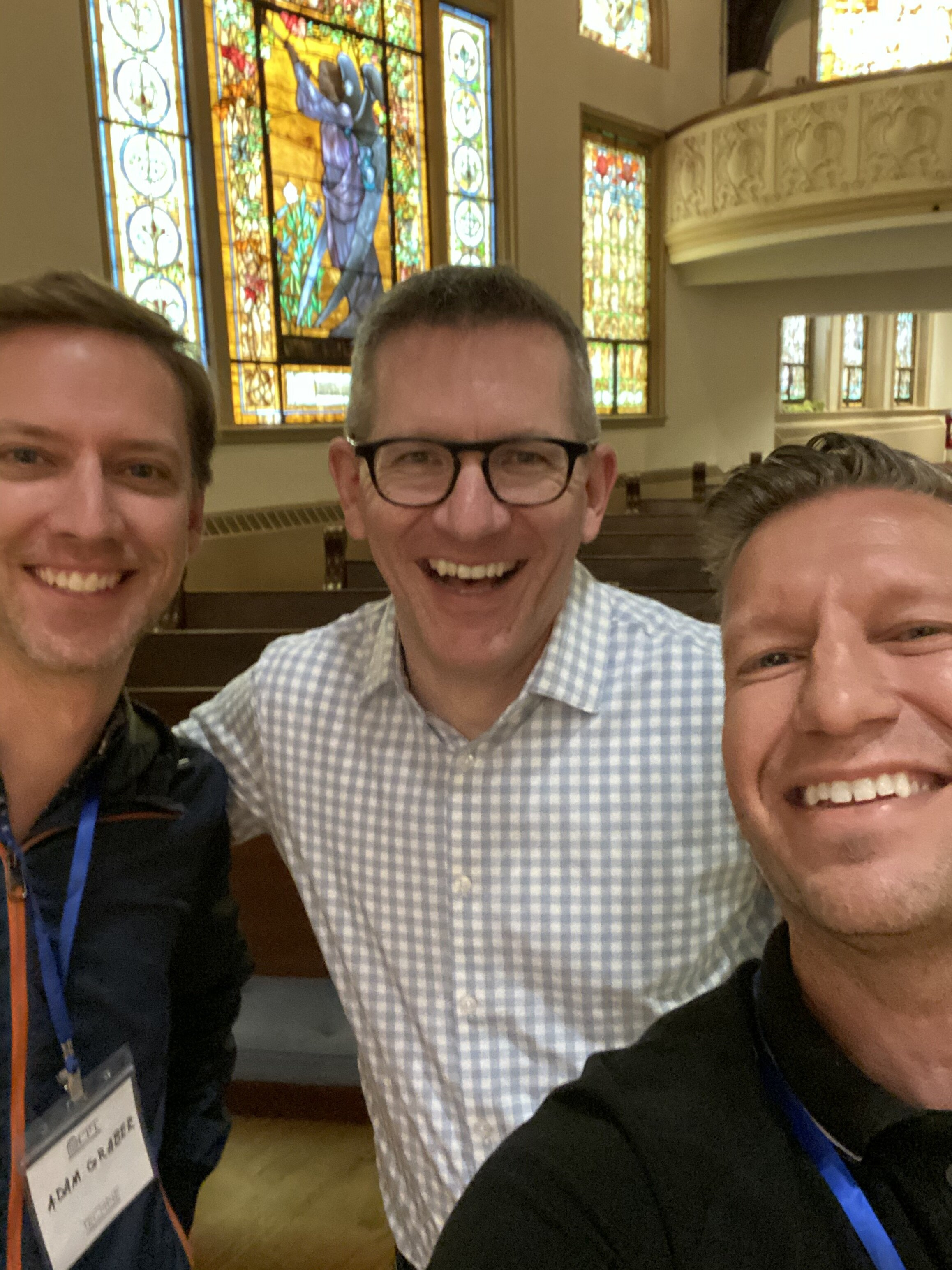 Andy Crouch agrees to a selfie with Adam &  Chris