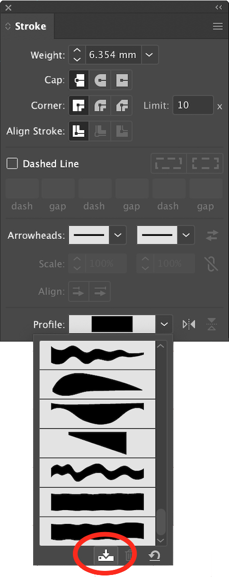 Save a profile in the Stroke panel under the Profile: pop-out.