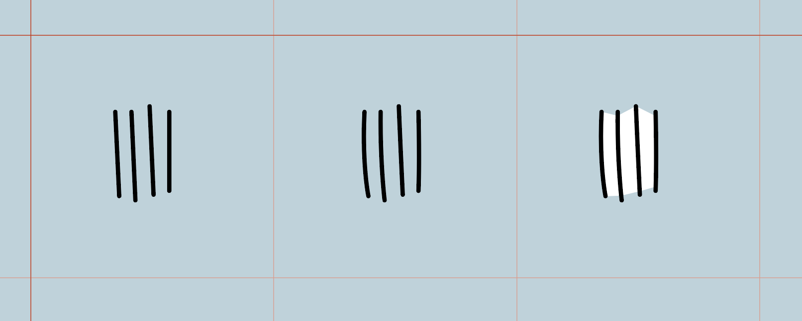 (1) Draw lines (2) make lines irregular (3) draw white masking shape behind lines