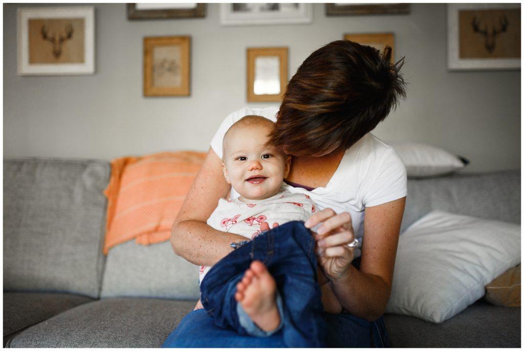 Baby Micah with his beautiful mama at home.