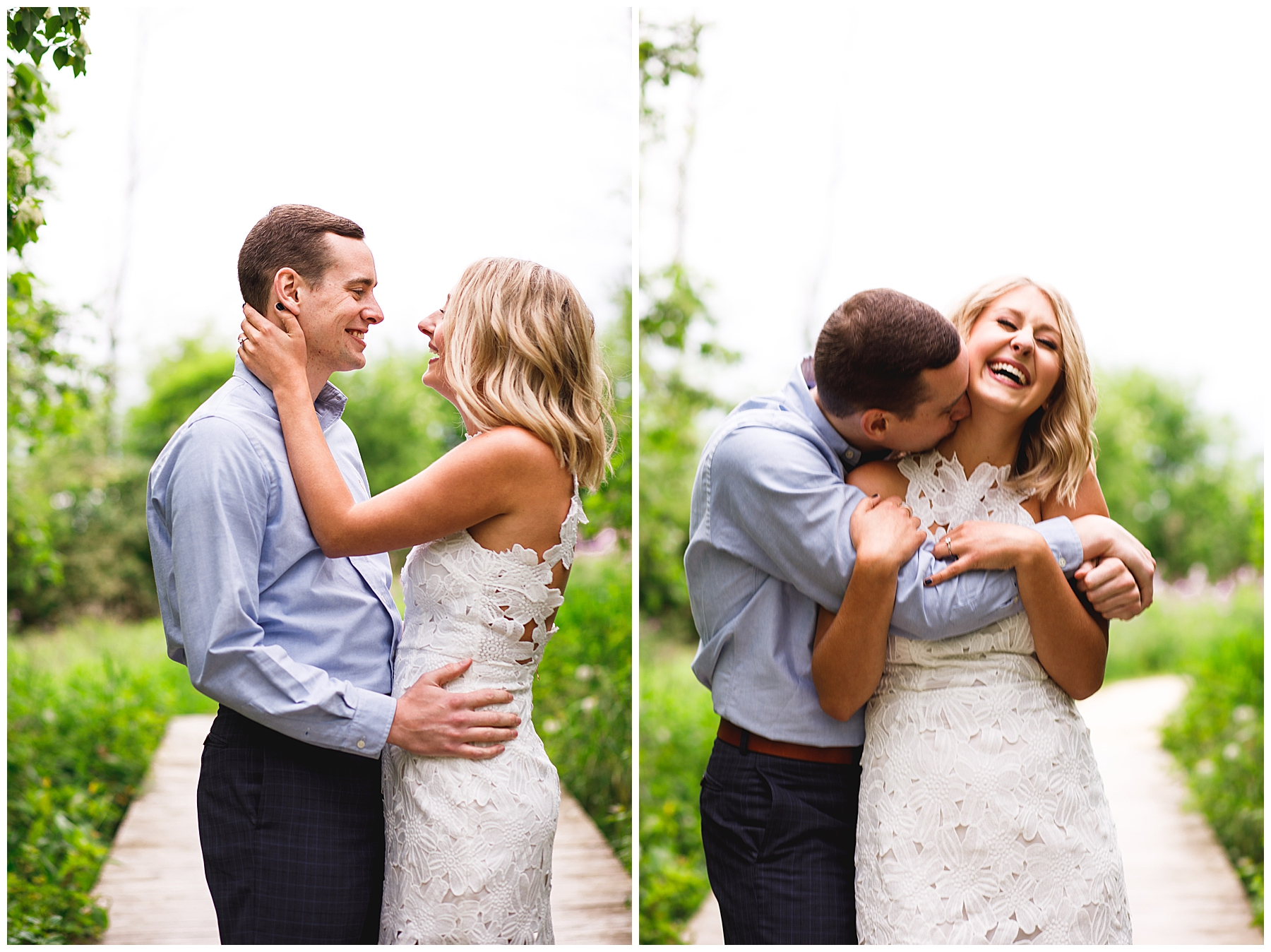 White dress engagement session in the park - Chelsea Matson Photography