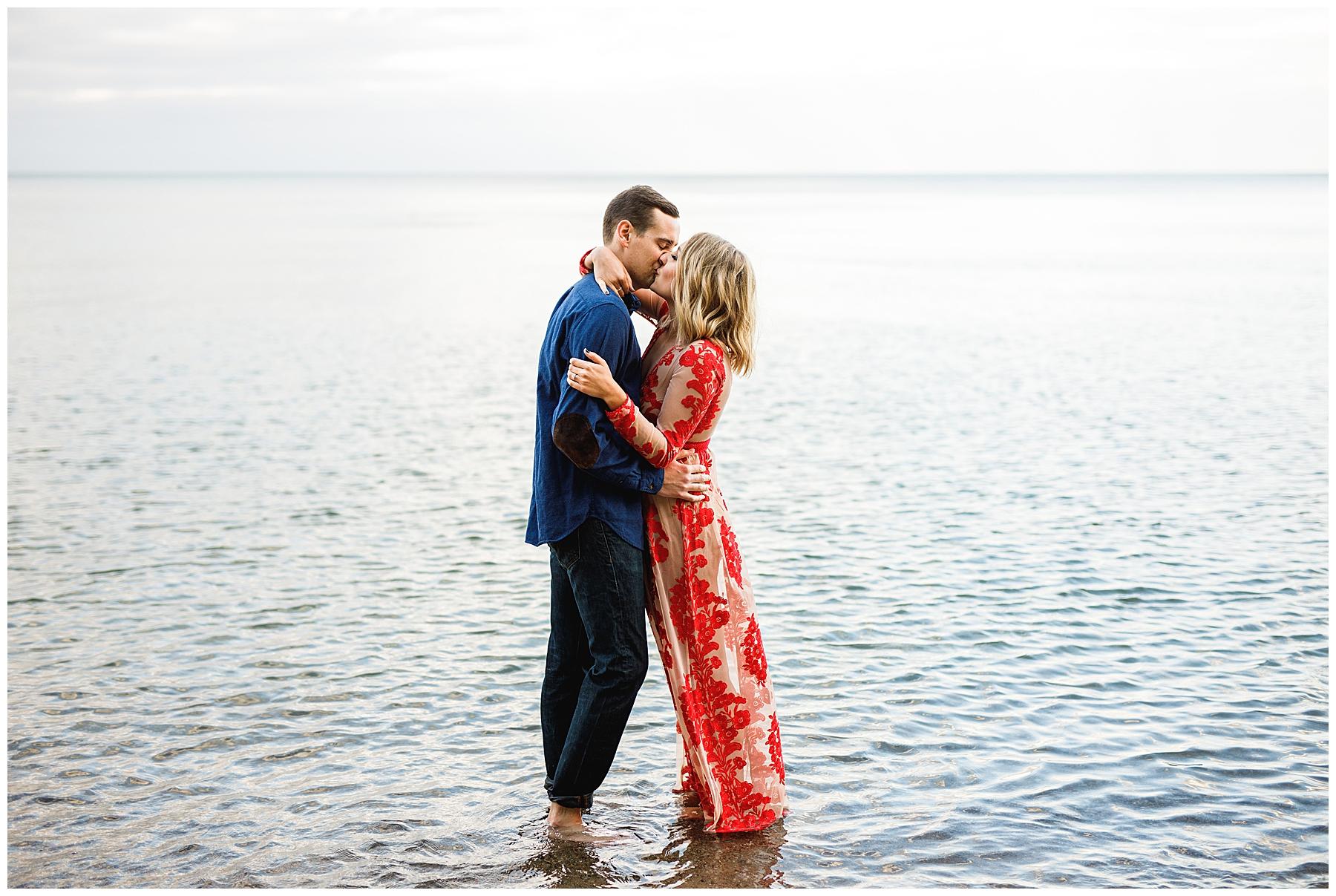 Lake Michigan Engagement Session Milwaukee Red Dress - Chelsea Matson Photography
