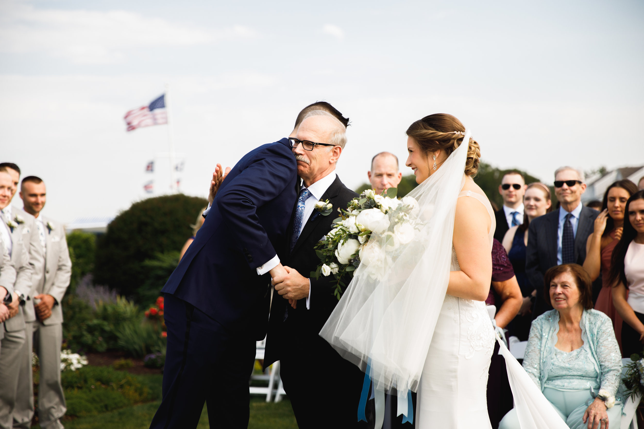 Amy + Scott opted to see each other for the first time coming down the aisle. It was a beautiful and emotional moment between the two of them, but also for Amy's dad. (White Cliffs Country Club)