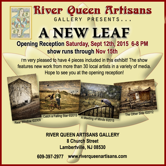 Ad for A New Leaf, the fall show at River Queen Artisans Gallery, Lambertville, NJ, 2015.