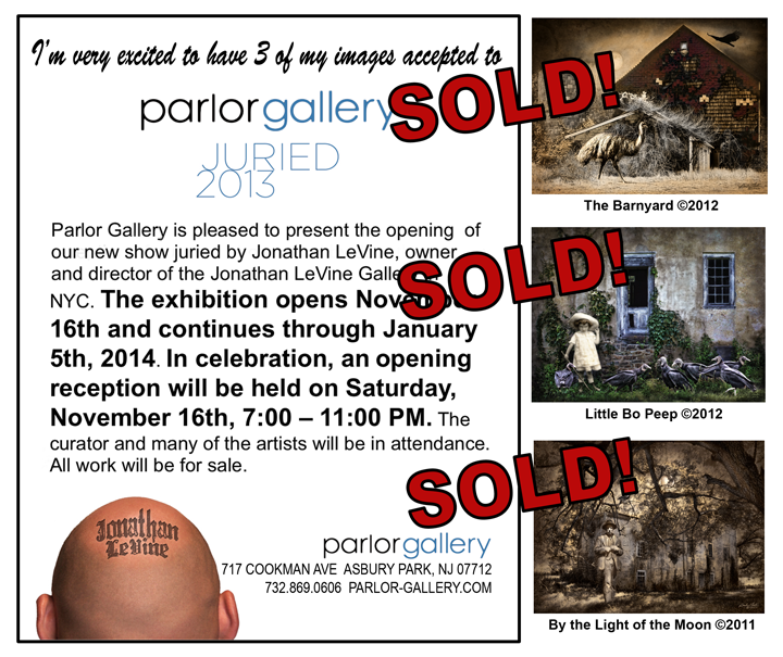 Ad for Juried 2013 show at Parlor Gallery, Asbury Park, NJ. I'm happy to say all 3 pieces sold!