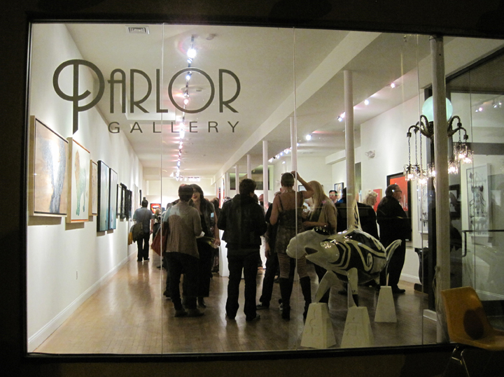 Opening reception of Juried 2013, Parlor Gallery, Asbury Park, NJ outside the front window.
