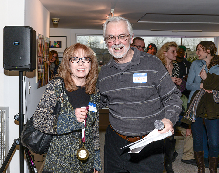 "Looking a little stunned while being presented with the Best in Show Award for ""The Treasure Chest"" at the opening reception of Eyesights 2014, The Guild of Creative Art in Shrewsbury, NJ"