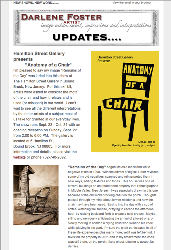 "A newsletter post about ""Remains of the Day"" being accepted for the show Anatomy of a Chair, 2013, Hamilton Street Gallery, Bound Brook, NJ."