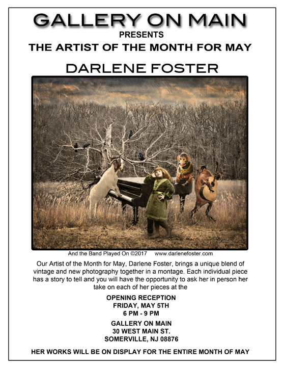 Ad for Artist of the Month, May 2017 at Gallery on Main, Somerville, NJ.