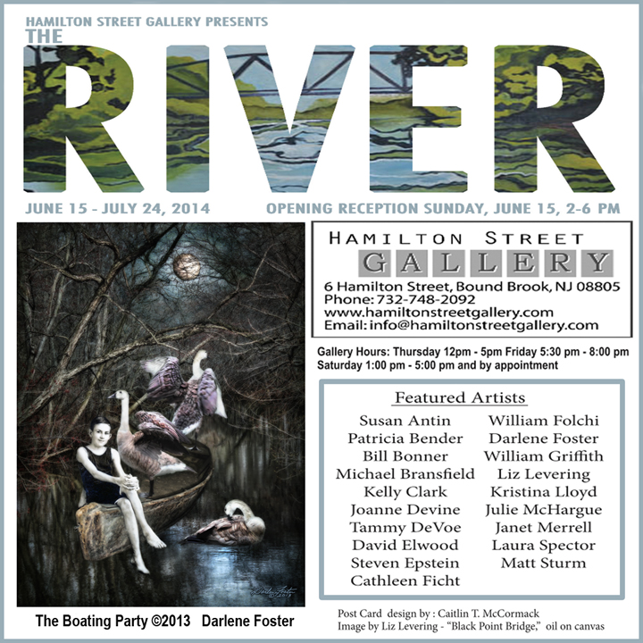 "Ad for The River, 2014, featuring my Piece ""The Boating Party"", Hamilton Street Gallery, Bound Brook, NJ."