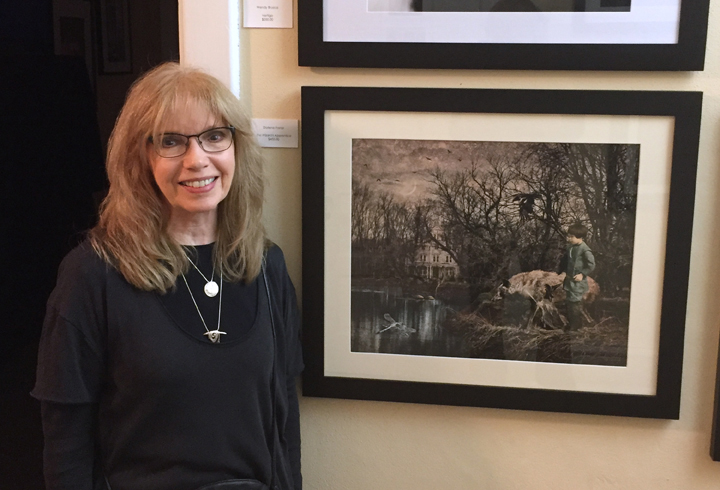 "Opening reception for Transformations, 2018, at the Pennsylvania Center for Photography, Doylestown, PA with my piece, ""The Wizard's Apprentice""."