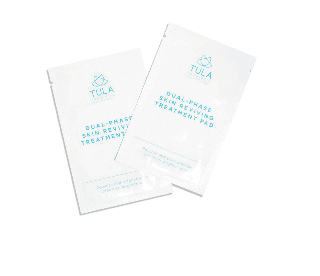 TULA DUAL-PHASE SKIN REVIVING TREATMENT PAD - I use these about two times a week to bring exfoliation to my skin. I love the way it feels when using it, and it makes my skin brighter and smoother afterwards. It's a cheaper way to give your skin a facial without having to pay for a fancy one.