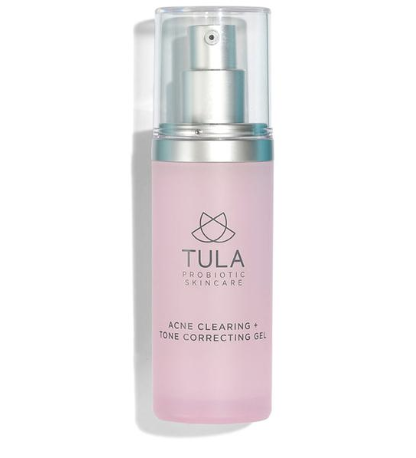 tula acne clearing + tone correcting gel - I use this in the morning and at night before I go to bed, and it really helps to keep my breakouts at a minimum. I think my overall skin looks healthier with this gel because it clears any marks left by acne.