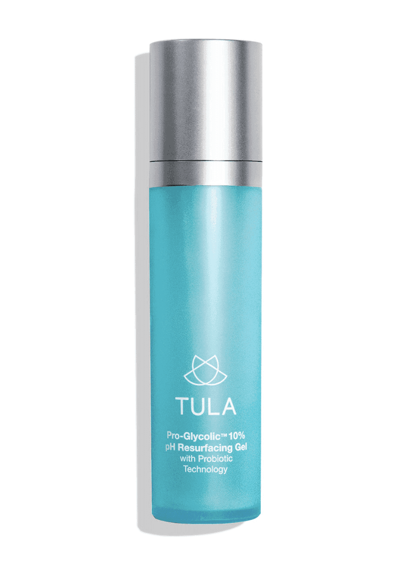 tula pro-glycolic resurfacing gel - I put this gel on right after washing my face, and it makes my skin feel toned and hydrated. It also works to exfoliate the skin, which makes it look smoother.