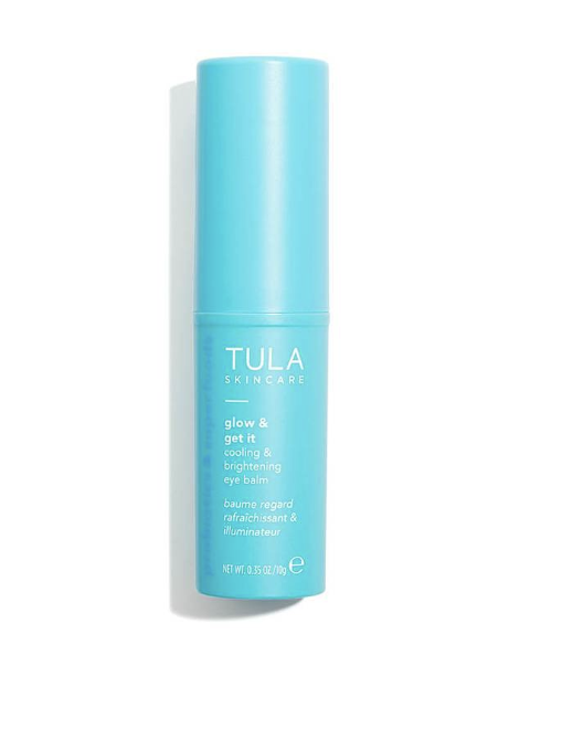 "TULA cooling & brightening eye balm - I use this all throughout the day as a ""pick me up"" and a refresher under my eyes. It makes your under eyes feel cool for about 15-20 min after you apply it, and it really brightens up your under eyes a lot. It really helps me to feel alive again during the day when I'm tired, ha!"