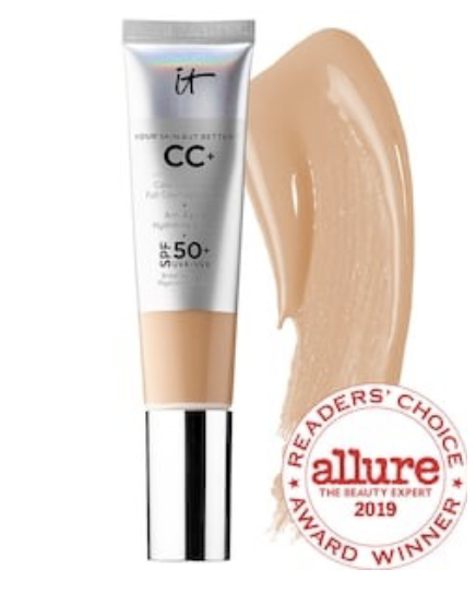 "IT cosmetics CC CREAM - I apply this cc cream before I put on my foundation. It gives my skin hydration, SPF protection, and an evened appearance.PS. This is the perfect thing to wear during the summer if you want to go light on the makeup! You don't need to put foundation over it- it gives a pretty covered look on it's own!I use shade ""Medium"""