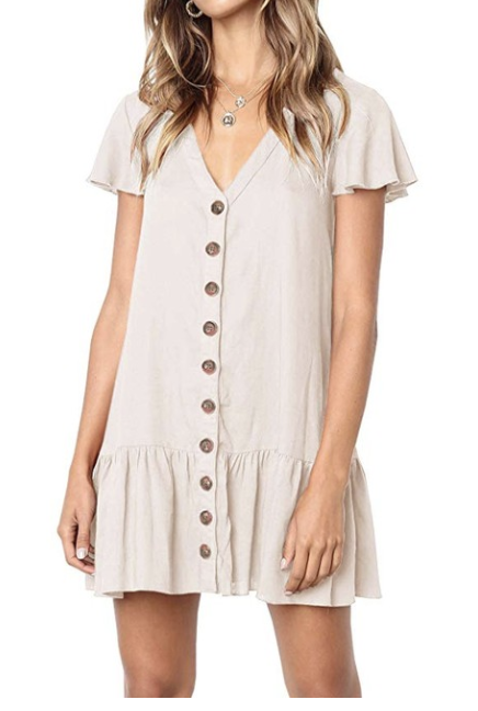v neck buttoned down mini dress - I love to wear this dress over my bathing suit as a cover up to the beach or the pool.